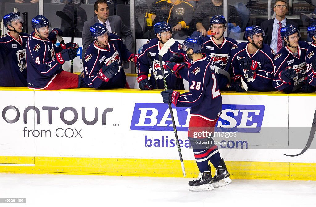 Justin Hache #28 of the Springfield Falcons celebrates a goal by teammate Craig Cunningham #14 (not pictured) during an American Hockey League game against the Providence Bruins at the Dunkin' Donuts Center on November 1, 2015 in Providence, Rhode Island. The Falcons won 5-2.