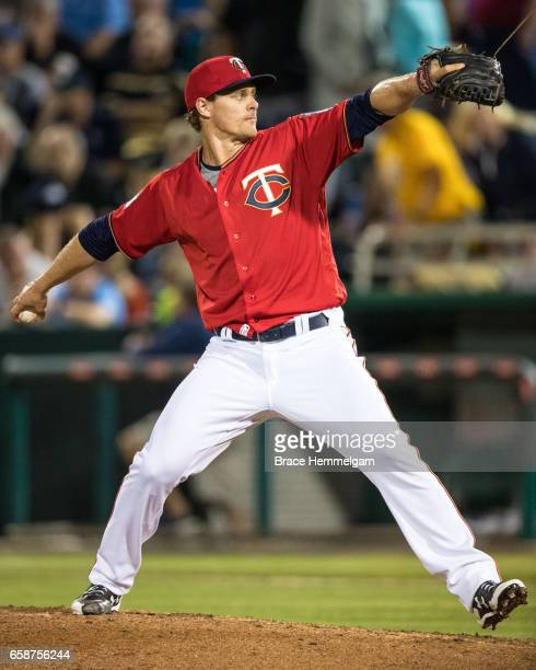 Justin Haley of the Minnesota Twins pitches against the Tampa Bay Rays on February 24 2017 at the CenturyLink Sports Complex in Fort Myers Florida