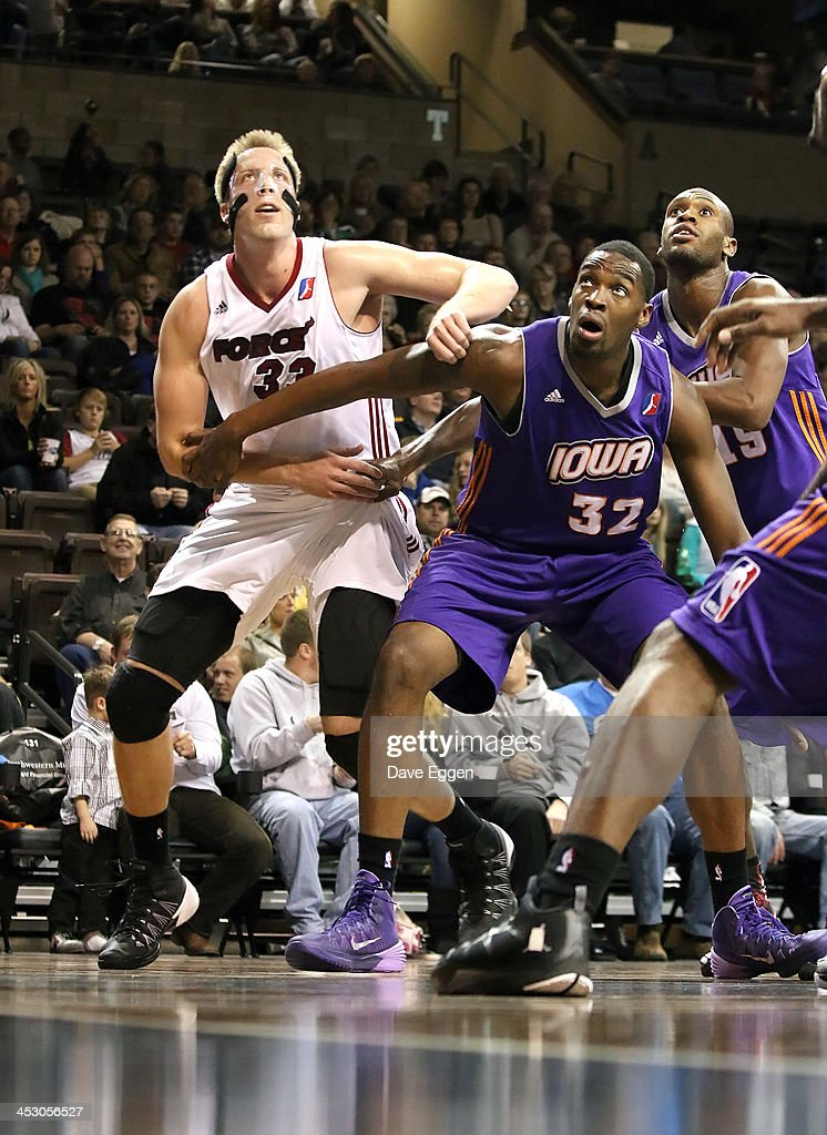 Justin Hamilton from the Sioux Falls Skyforce battles for position with Jarvis Varnado from the Iowa Energy in their NBA DLeague game November 30...