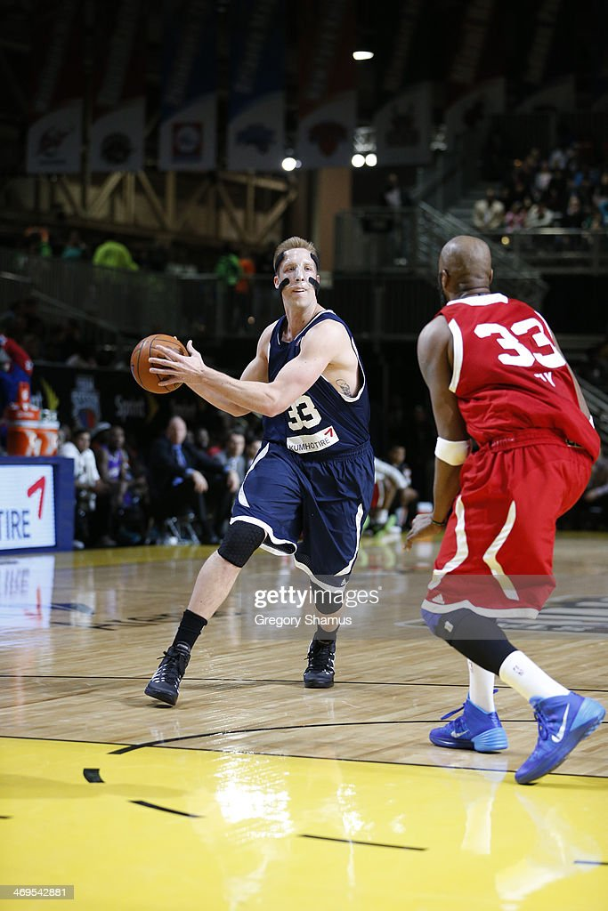 Justin Hamilton of the Futures dribbles against Ike Diogu of the Prospects during the NBA DLeague AllStar Game at Sprint Arena as part of 2014 NBA...