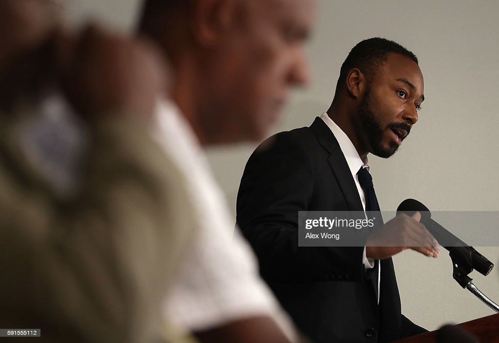 Justin Hansford Harvard Democracy Project fellow and professor at St Louis University Law School speaks at a news conference on what would have been...