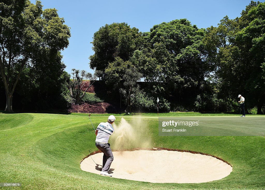 Justin Harding of South Africa plays a shot during the first round of the Tshwane Open at Pretoria Country Club on February 11, 2016 in Pretoria, South Africa.