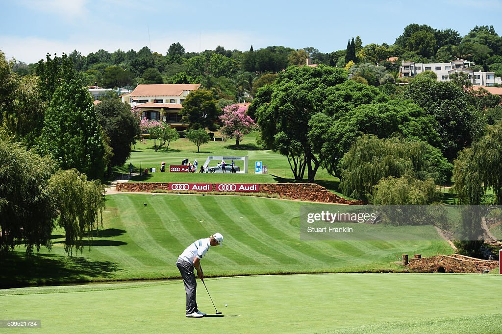 Justin Harding of South Africa putts during the first round of the Tshwane Open at Pretoria Country Club on February 11, 2016 in Pretoria, South Africa.