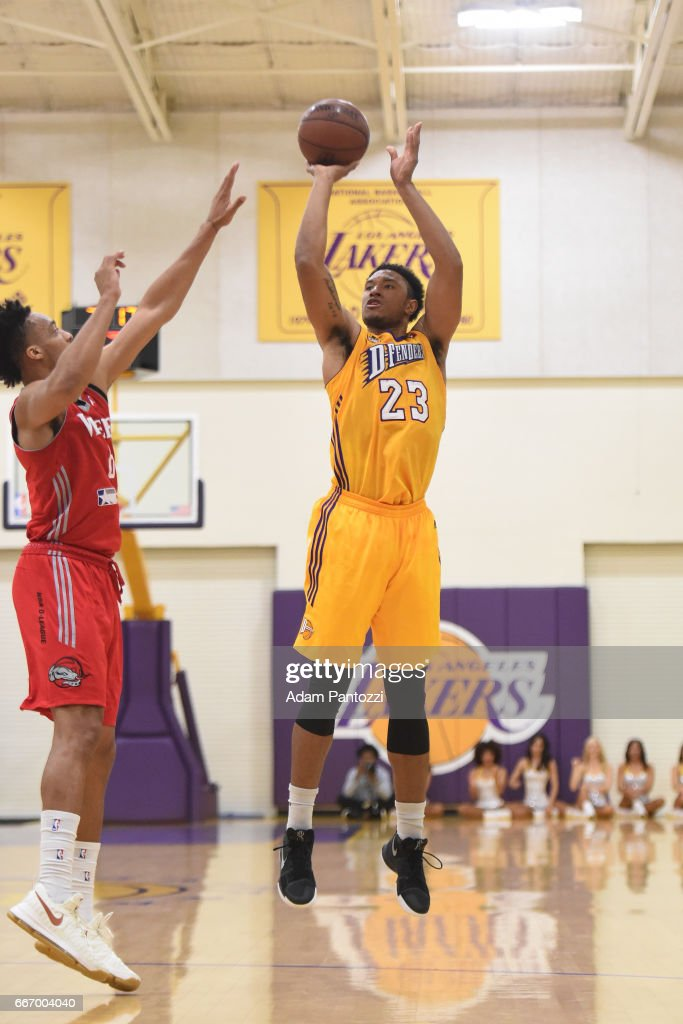 Justin Harper #23 of the Los Angeles D-Fenders shoots the ball against the Rio Grande Valley Vipers during the first round of an NBA D-League playoff game at Toyota Sports Center on April 08, 2017 in El Segundo, California.