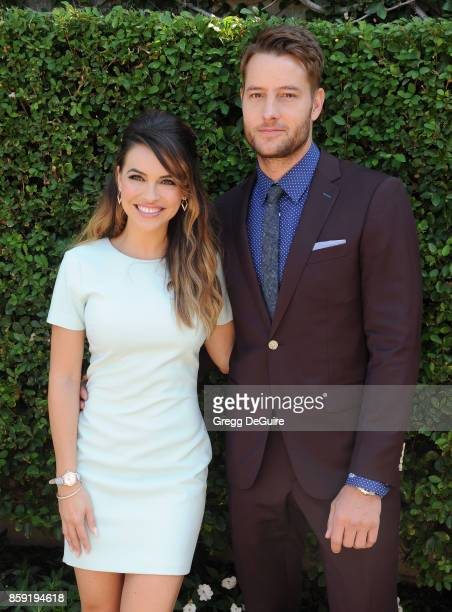 Justin Hartley and Chrishell Stause arrive at The Rape Foundation's Annual Brunch at a private residence on October 8 2017 in Los Angeles California