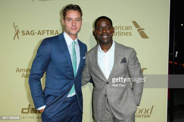 Justin Hartley and Sterling K Brown attend The Hollywood Reporter and SAGAFTRA Inaugural Emmy Nominees Night presented by American Airlines Breguet...