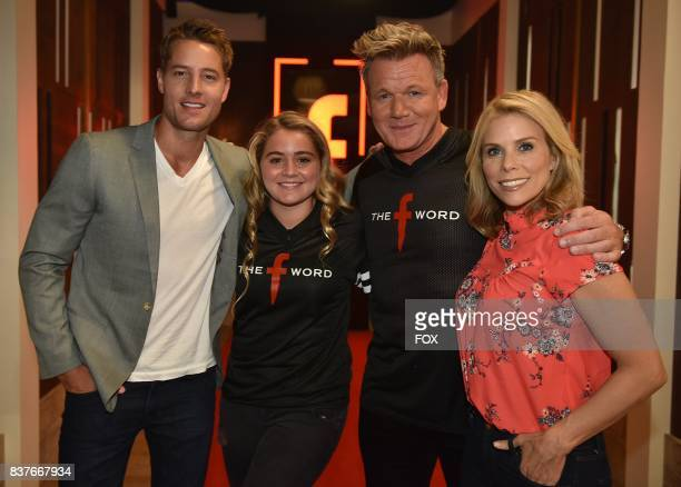 Justin Hartley Matilda Ramsay Gordon Ramsay and Cheryl Hines in the allnew Episode Seven episode of THE F WORD WITH GORDON RAMSAY airing Wednesday...