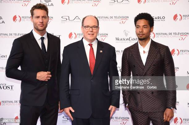 Justin Hartley Prince Albert II of Monaco and Jussie Smollett attend the 57th Monte Carlo TV Festival Opening Ceremony on June 16 2017 in MonteCarlo...