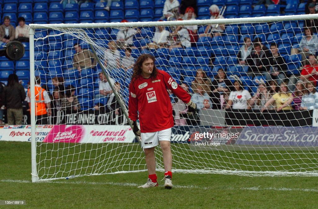 Justin Hawkins of The Darkness during Soccer Six at Birmingham City Football Club - May 14, 2006 at St Andrews Stadium in Birmingham, Great Britain.