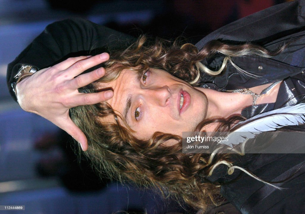 <a gi-track='captionPersonalityLinkClicked' href=/galleries/search?phrase=Justin+Hawkins&family=editorial&specificpeople=171558 ng-click='$event.stopPropagation()'>Justin Hawkins</a> of <a gi-track='captionPersonalityLinkClicked' href=/galleries/search?phrase=The+Darkness&family=editorial&specificpeople=206457 ng-click='$event.stopPropagation()'>The Darkness</a> during The 2004 Brit Awards - Arrivals at Earls Court in London, Great Britain.