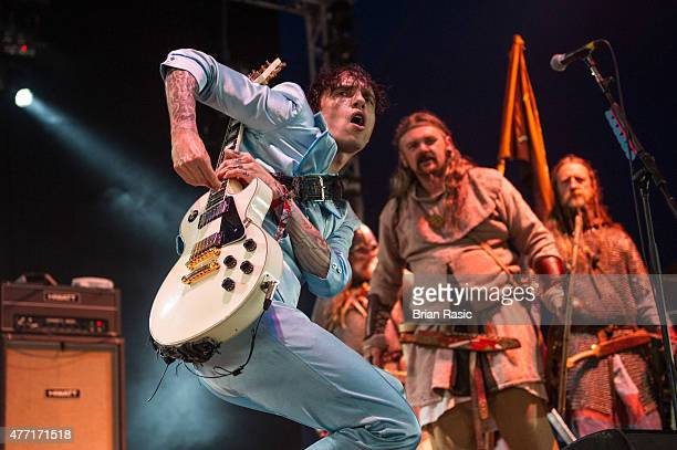 Justin Hawkins of The Darkness performs live on Day 3 of the Download Festival at Donington Park on June 14 2015 in Castle Donington England