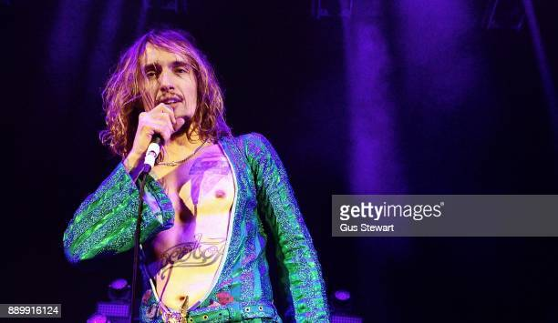 Justin Hawkins of The Darkness performs on stage at the Eventim Apollo on December 10 2017 in London England