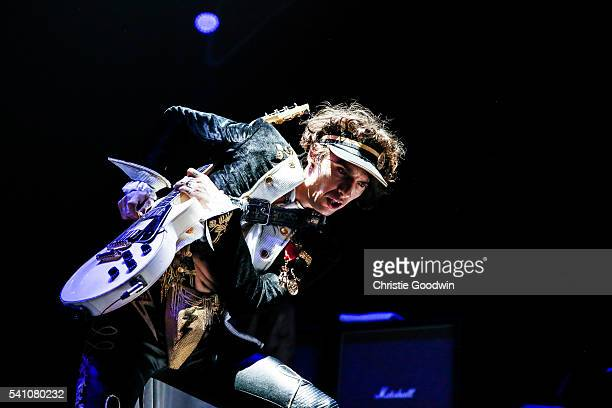 Justin Hawkins of The Darkness performs on stage at The O2 Arena on June 18 2016 in London England