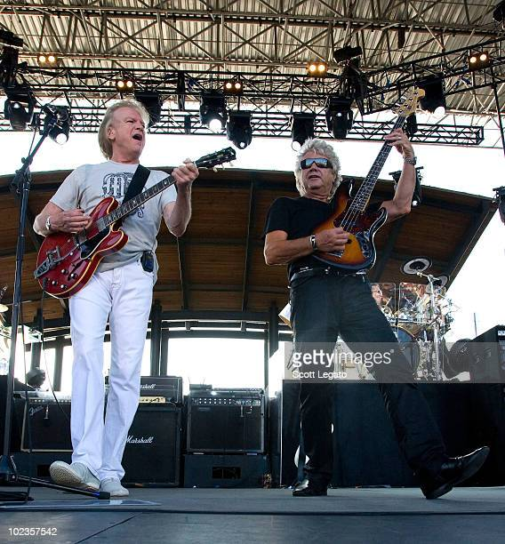Justin Hayward John Lodge and Graeme Edge of The Moody Blues performs at The Lawn at White River State Park on June 23 2010 in Indianapolis Indiana