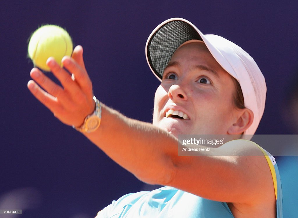 Justin Henin of Belgium in action against Dinara Safina of Russia during day four of the Women's Qatar Telecom German Open at the Rot Weiss Berlin...