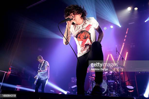 Justin Hills and Kellin Quinn of Sleeping With Sirens perform on stage at Ritz Manchester on May 23 2013 in Manchester England