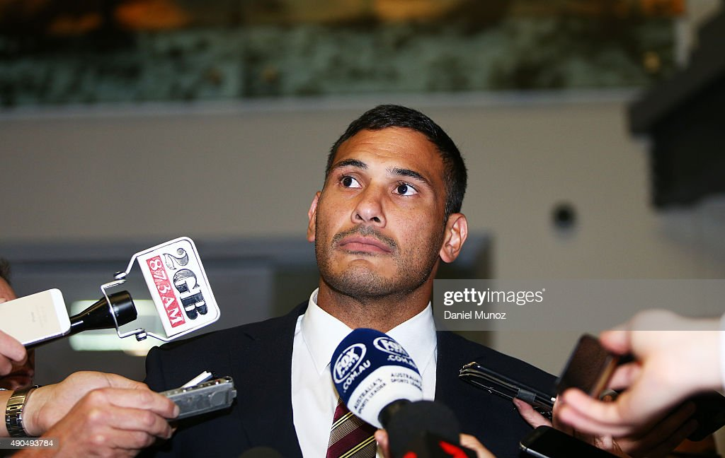 Justin Hodges of the Brisbane Broncos talks to the media after being found not guilty of a dangerous throw on September 29, 2015 in Sydney, Australia.