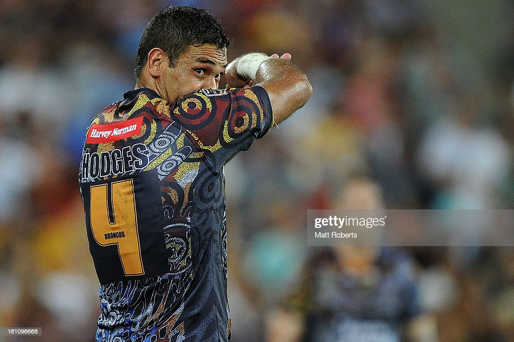 Justin Hodges of the Indigenous All Stars looks on during the NRL All Stars Game between the Indigenous All Stars and the NRL All Stars at Suncorp Stadium on February 9, 2013 in Brisbane, Australia.