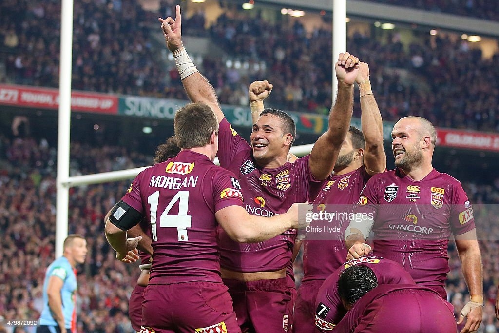 Justin Hodges of the Maroons celebrates during game three of the State of Origin series between the Queensland Maroons and the New South Wales Blues...