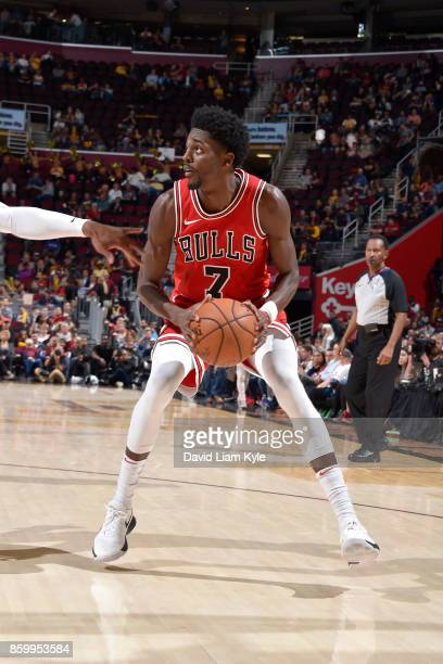 Justin Holiday of the Chicago Bulls handles the ball against the Cleveland Cavaliers on October 10 2017 at Quicken Loans Arena in Cleveland Ohio NOTE...