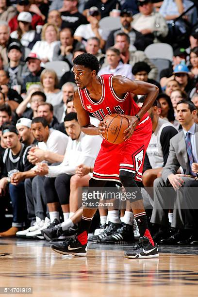 Justin Holiday of the Chicago Bulls handles the ball during the game against the San Antonio Spurs on March 10 2016 at the ATT Center in San Antonio...