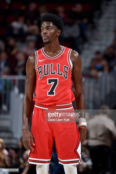 Justin Holiday of the Chicago Bulls looks on during the game against the Cleveland Cavaliers on October 10 2017 at Quicken Loans Arena in Cleveland...