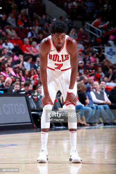 Justin Holiday of the Chicago Bulls looks on during the game against the Toronto Raptors on October 13 2017 at the United Center in Chicago Illinois...