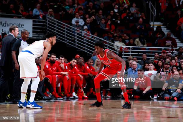 Justin Holiday of the Chicago Bulls plays defense against the New York Knicks on December 9 2017 at the United Center in Chicago Illinois NOTE TO...