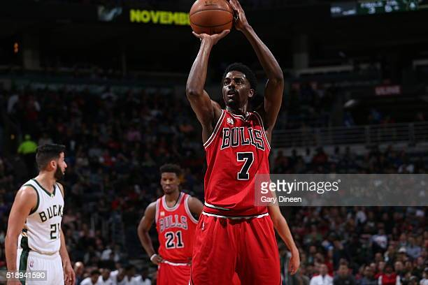 Justin Holiday of the Chicago Bulls prepares to shoot a free throw against the Milwaukee Bucks on April 3 2016 at the BMO Harris Bradley Center in...