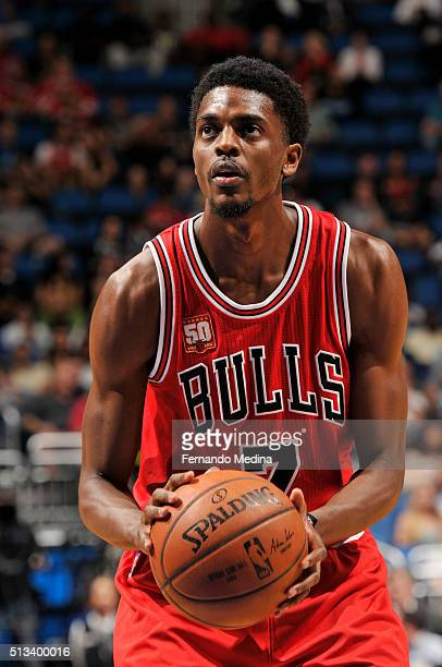 Justin Holiday of the Chicago Bulls shoots a free throw against the Orlando Magic on March 2 2016 at Amway Center in Orlando Florida NOTE TO USER...