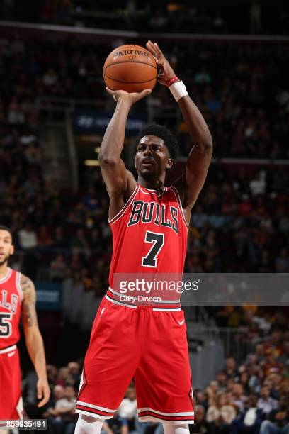 Justin Holiday of the Chicago Bulls shoots a free throw against the Cleveland Cavaliers during a preseason game on October 10 2017 at Quicken Loans...