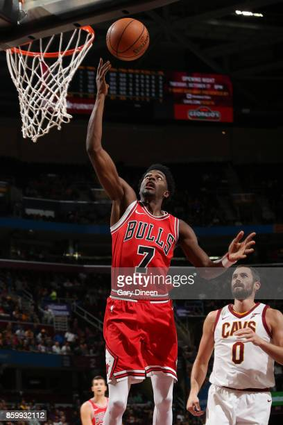 Justin Holiday of the Chicago Bulls shoots a lay up against the Cleveland Cavaliers during a preseason game on October 10 2017 at Quicken Loans Arena...