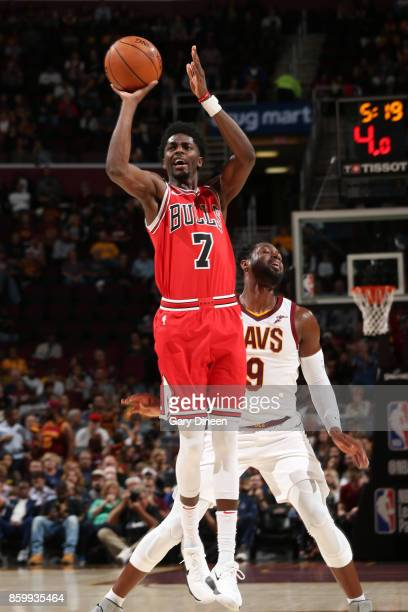Justin Holiday of the Chicago Bulls shoots the ball against the Cleveland Cavaliers during a preseason game on October 10 2017 at Quicken Loans Arena...