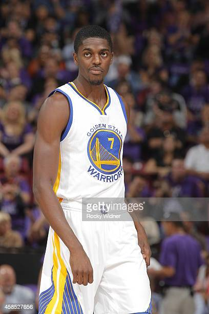 Justin Holiday of the Golden State Warriors looks on during the game against the Sacramento Kings on October 29 2014 at Sleep Train Arena in...