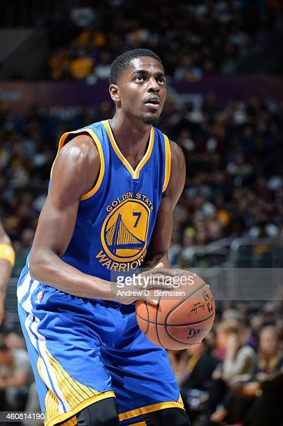 Justin Holiday of the Golden State Warriors prepares to shoot a free throw against the Los Angeles Lakers on December 23 2014 at Staples Center in...