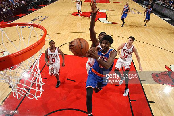 Justin Holiday of the New York Knicks goes up for a lay up during a game against the Chicago Bulls on November 4 2016 at the United Center in Chicago...