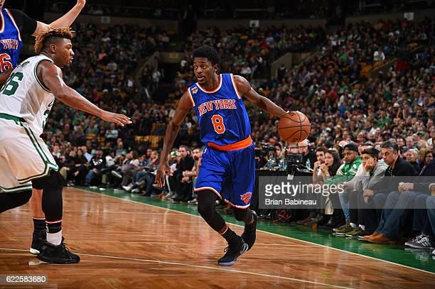 Justin Holiday of the New York Knicks handles the ball against the Boston Celtics on November 11 2016 at the TD Garden in Boston Massachusetts NOTE...