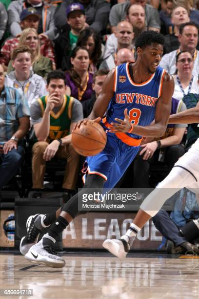 Justin Holiday of the New York Knicks handles the ball against the Utah Jazz on March 22 2017 at vivintSmartHome Arena in Salt Lake City Utah NOTE TO...