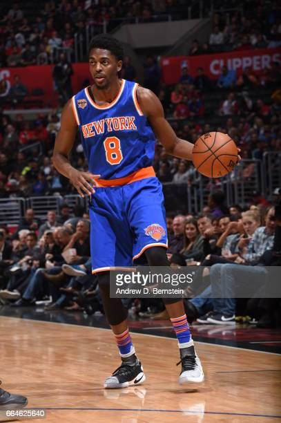 Justin Holiday of the New York Knicks handles the ball against the LA Clippers on March 20 2017 at STAPLES Center in Los Angeles California NOTE TO...