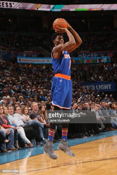 Justin Holiday of the New York Knicks shoots the ball during a game against the Oklahoma City Thunder on February 15 2017 at Chesapeake Energy Arena...