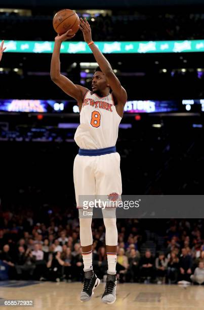 Justin Holiday of the New York Knicks takes his three point shot in the fourth quarter against the Detroit Pistons at Madison Square Garden on March...