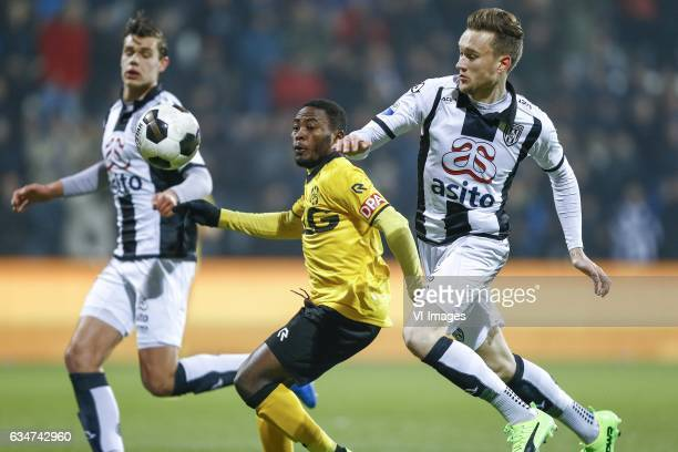 Justin Hoogma of Heracles Almelo Abdul Ajagun of Roda JC Mike te Wierik of Heracles Almeloduring the Dutch Eredivisie match between Heracles Almelo...