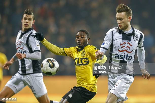 Justin Hoogma of Heracles Almelo Abdul Ajagun of Roda JC Tim Breukers of Heracles Almeloduring the Dutch Eredivisie match between Heracles Almelo and...