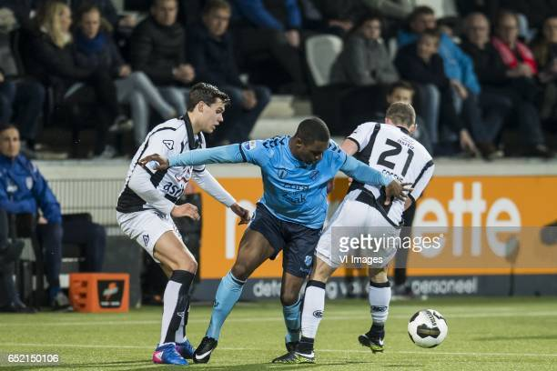 Justin Hoogma of Heracles Almelo Gyrano Kerk of FC Utrecht Robin Gosens of Heracles Almeloduring the Dutch Eredivisie match between Heracles Almelo...