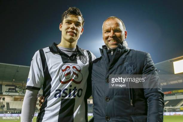 Justin Hoogma of Heracles Almelo Manager Nico Jan Hoogma of Heraclesduring the Dutch Eredivisie match between Heracles Almelo and sc Heerenveen at...