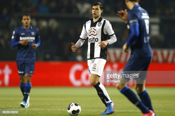 Justin Hoogma of Heracles Almeloduring the Dutch Eredivisie match between Heracles Almelo and sc Heerenveen at Polman stadium on April 01 2017 in...