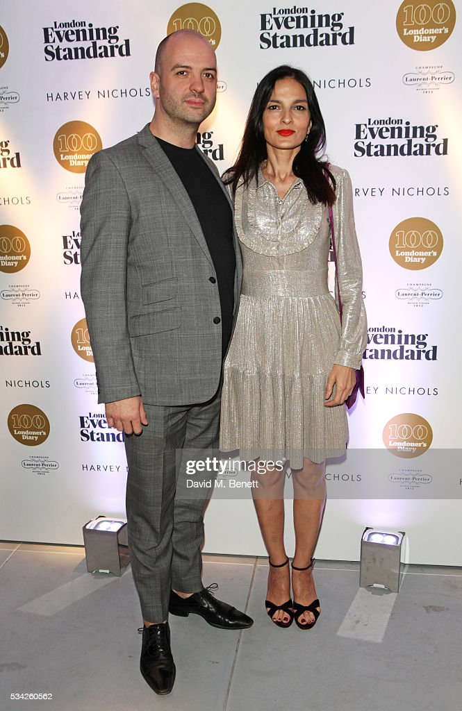 Justin Horne (L) and Yasmin Mills attend the London Evening Standard Londoner's Diary 100th Birthday Party in partnership with Harvey Nichols at Harvey Nichols on May 25, 2016 in London, England.