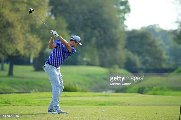 Justin Huber hits a drive during the second round of the Chitimacha Louisiana Open presented by NACHER held at Le Triomphe Golf and Country Club on...