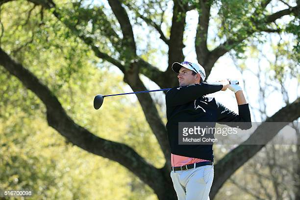 Justin Hueber hits his drive on the ninth hole during the final round of the Chitimacha Louisiana Open presented by NACHER held at Le Triomphe Golf...