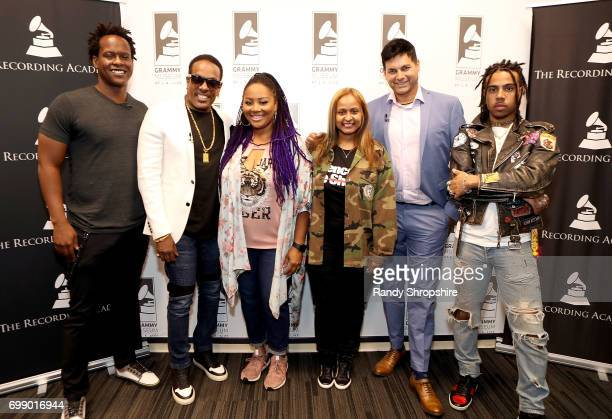 Justin Hunte Charlie Wilson Lalah Hathaway Shanti Das Dr Reef Karim and Vic Mensa attend the Health in Hip Hop panel at the GRAMMY Museum on June 20...